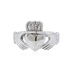 14KT White Gold Heart and Crown Ring