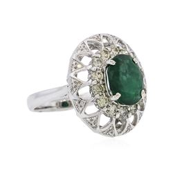 14KT White Gold 2.89 ctw Emerald and Diamond Ring