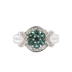 14KT White Gold 0.74 ctw Alexandrite and Diamond Ring