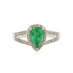 14KT White Gold 0.97 ctw Emerald and Diamond Ring