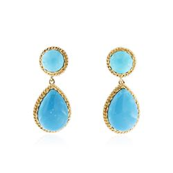 10KT Yellow Gold 9.27 ctw Turquoise Earrings