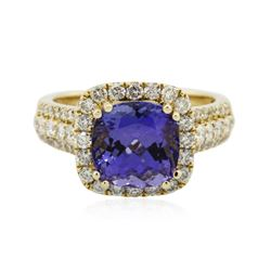14KT Yellow Gold 3.71 ctw Tanzanite and Diamond Ring