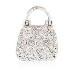 14KT White Gold 0.22 ctw Diamond Purse Pendant