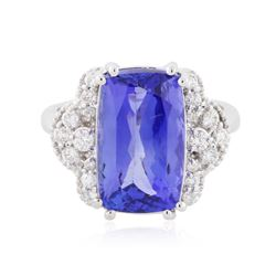14KT White Gold 7.07 ctw Tanzanite and Diamond Ring