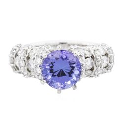 14KT White Gold 2.62 ctw Tanzanite and Diamond Ring