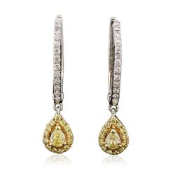14KT Two-Tone Gold Yellow Diamond Earrings
