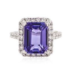 18KT White Gold 6.19 ctw Tanzanite and Diamond Ring