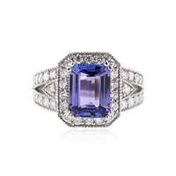 14KT White Gold 3.83 ctw Tanzanite and Diamond Ring