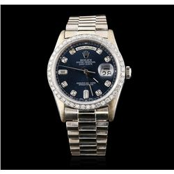 Gents Rolex 18KT White Gold 1.32 ctw Diamond DayDate Wristwatch