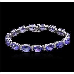 14KT White Gold 34.30 ctw Tanzanite and Diamond Bracelet