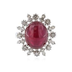 14KT White Gold 11.03 ctw Ruby and Diamond Ring
