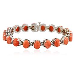 14KT White Gold 16.34 ctw Pink Coral and Diamond Bracelet