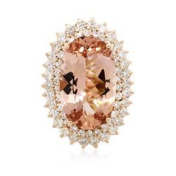 14KT Rose Gold 22.46 ctw Morganite and Diamond Ring