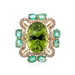 18KT Rose Gold 7.40 ctw Peridot, Emerald and Diamond Ring
