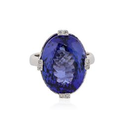 14KT White Gold 16.98 ctw Tanzanite and Diamond Ring