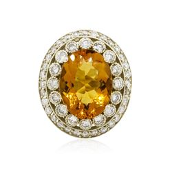 14KT White Gold 15.39 ctw Citrine and Diamond Ring