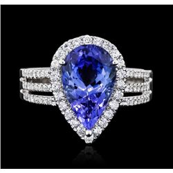 14KT White Gold 3.99 ctw Tanzanite and Diamond Ring