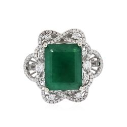 14KT White Gold 7.31 ctw Emerald and Diamond Ring
