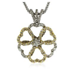 18KT Two-Tone Gold 0.98 ctw Diamond Pendant With Chain