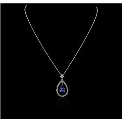 14KT White Gold 2.98 ctw Tanzanite and Diamond Pendant With Chain