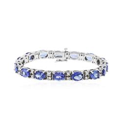 14KT White Gold 19.50 ctw Tanzanite and Diamond Bracelet