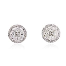 14KT White Gold 2.14 ctw Diamond Stud Earrings