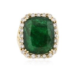 14KT Yellow Gold 15.27 ctw Emerald and Diamond Ring