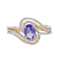 14KT Yellow Gold 0.80 ctw Tanzanite and Diamond Ring