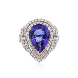 14KT White Gold GIA Certified 6.18 ctw Tanzanite and Diamond Ring