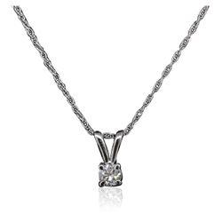 14KT White Gold 0.11 ctw Diamond Pendant