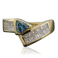 14KT Yellow Gold 0.35 ctw Blue Diamond Ring