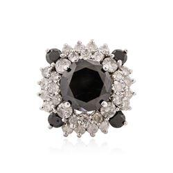 14KT White Gold 6.67 ctw Black Diamond Ring