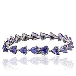 14KT White Gold 25.60 ctw Tanzanite and Diamond Bracelet