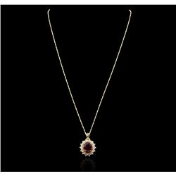 14KT Yellow Gold 7.80 ctw Ruby and Diamond Pendant With Chain