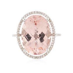 14KT White Gold 8.01 ctw Kunzite and Diamond Ring