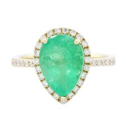 14KT Yellow Gold 2.73 ctw Emerald and Diamond Ring