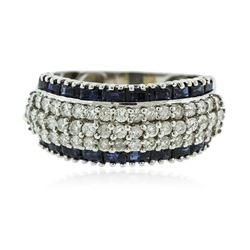 14KT White Gold 1.15 ctw Sapphire and Diamond Ring