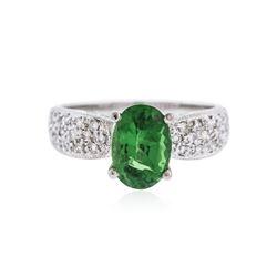 14KT White Gold 2.50 ctw Tsavorite and Diamond Ring
