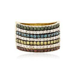 14KT Yellow Gold 1.36 ctw Multicolor Diamond Ring