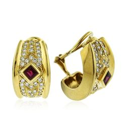 18KT Yellow Gold 1.20 ctw Ruby and Diamond Earrings