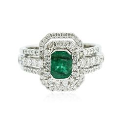 18KT White Gold 1.01 ctw Emerald and Diamond Ring