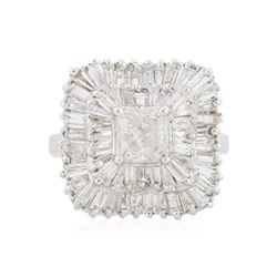 14KT White Gold 2.83 ctw Diamond Ballerina Ring