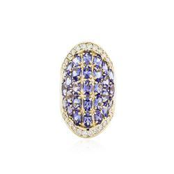 14KT Yellow Gold 7.21 ctw Tanzanite and Diamond Ring