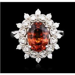 14KT White Gold 4.30 ctw Spessartite Garnet and Diamond Ring