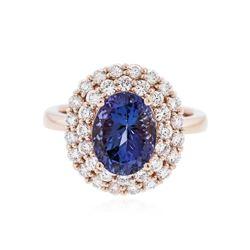 14KT Rose Gold 2.93 ctw Tanzanite and Diamond Ring