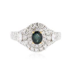 18KT White Gold 0.47 ctw Alexandrite and Diamond Ring