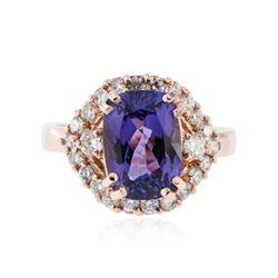 14KT Rose Gold 3.30 ctw Tanzanite and Diamond Ring