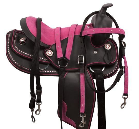 Pink Western Silver Barrel Racing Horse Saddle Tack 15 16 [9516]