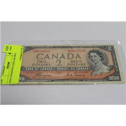 1954 CANADIAN 2 DOLLAR BILL