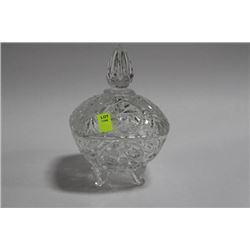 PINWHEEL CRYSTAL FOOTED DISH WITH LID